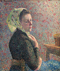 Woman with green scarf