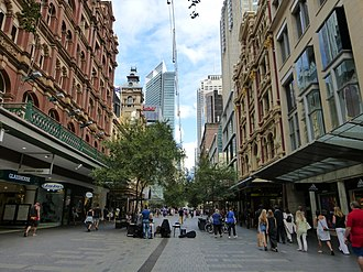 Pitt Street, a major street in Sydney CBD, runs from Circular Quay in the north to Waterloo in the south and is home to many large high-end retailers. Pitt Street Mall, 2014.jpg