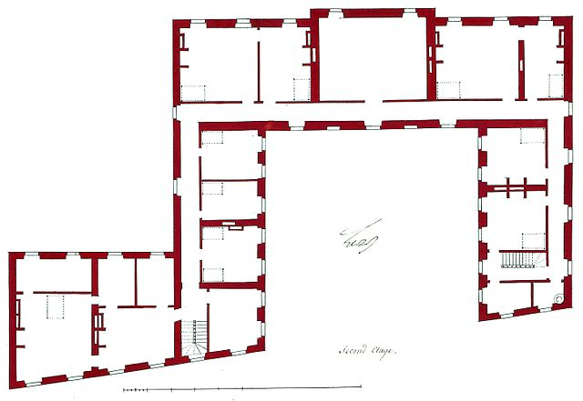 Plan of the second floor (attic storey) of the Hotel de Brionne in Paris - 1734. Plan d'execution du second etage de l'hotel de Brionne (dessin) De Cotte 2503c - Gallica 2011 (adjusted).jpg