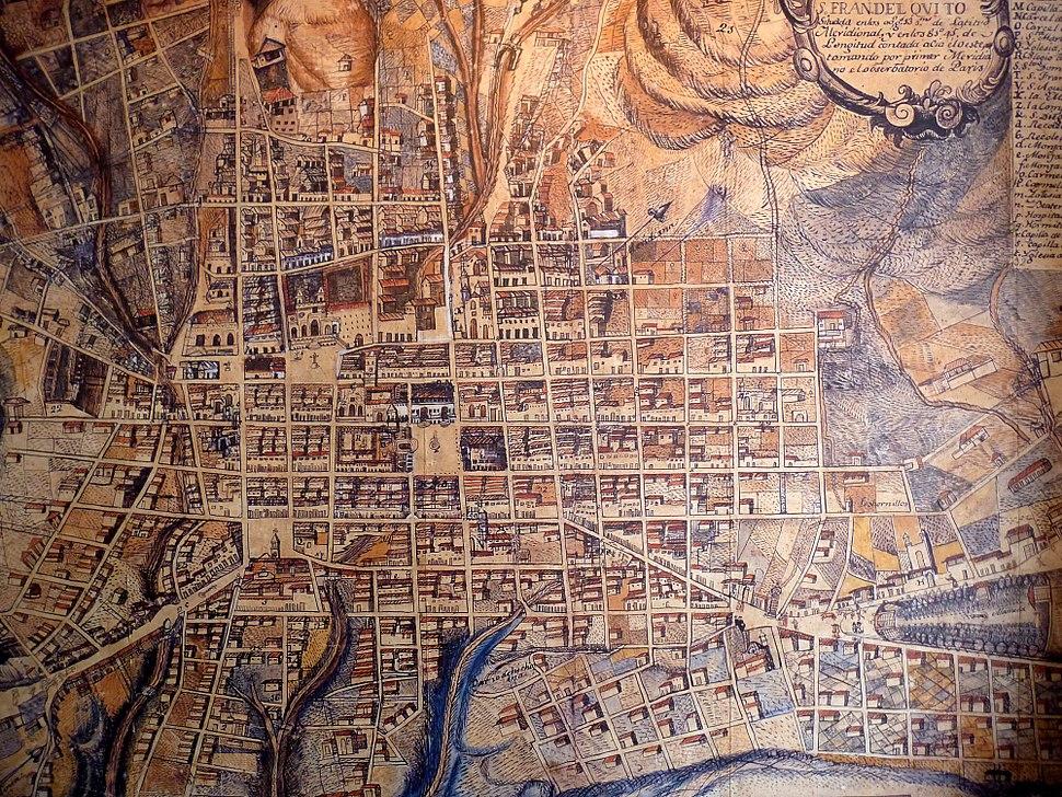 Plano de la Ciudad de Quito hacia 1805. Atribuído a Juan Pío Montúfar.