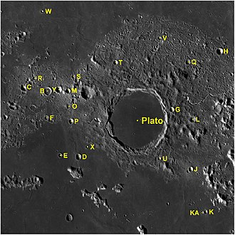 Plato (crater) - Plato and its satellite craters