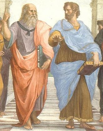 Eudaimonia - The School of Athens by Raffaello Sanzio, 1509, showing Plato (left) and Aristotle (right)