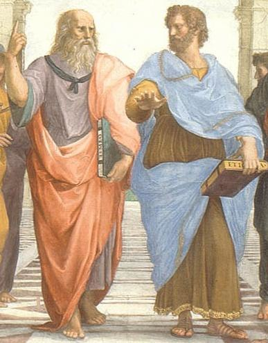 Plato and Aristotle in The School of Athens, by italian Rafael