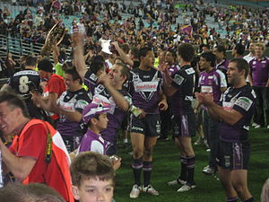 Melbourne Storm - Storm players celebrating their Premiership win in 2007 (later disqualified by NRL).