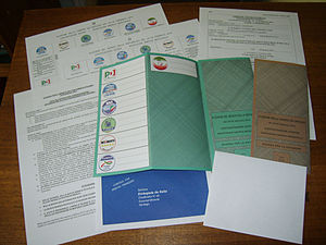 Postal voting - Electoral package sent to an Italian voter in South America during the Italian general election, 2013.