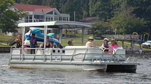 A pontoon boat approaches on Lake Gaston, VA-N...