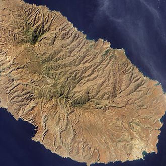 Baía do Inferno - Satellite photograph of Santiago; the coastal indentation at lower left is the Baia do Inferno