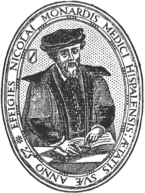 Historia medicinal de las cosas que se traen de nuestras Indias Occidentales - Nicolas Monardes at the age of 57, from the title page of the 1569 edition