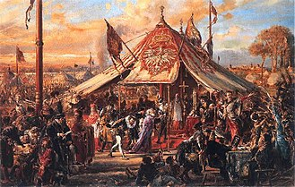 Royal elections in Poland - The first Polish royal election, of Henry III of France in 1573 (1889 Painting by Jan Matejko).