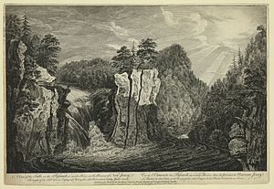 Great Falls (Passaic River) - Engraving after a drawing of the falls made by Thomas Pownall in the 1750s
