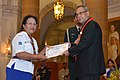 Pranab Mukherjee presented the Bharat Scouts & Guides Awards Certificates for the year 2013, at the presentation of the Rashtrapati Scouts & Guides Awards for the year-2013, at Rashtrapati Bhavan, in New Delhi (2).jpg