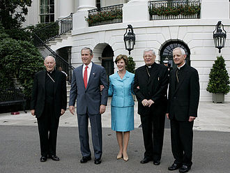 Donald Wuerl - President Bush and wife Laura with outgoing Archbishop McCarrick (left) and incoming Wuerl (right), welcome papal nuncio Pietro Sambi to the White House