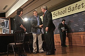 Rachel Scott - Image: President George W. Bush talks with former Columbine High School student Craig Scott