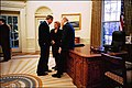 President George W. Bush talks with former President Gerald R. Ford and Betty Ford.jpg