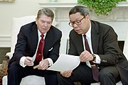 President Ronald Reagan and Colin Powell