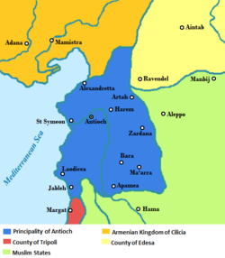 The Principality of Antioch in the context of the other states of the Near East in 1135 AD.