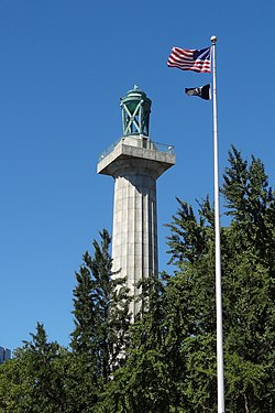 Prison Ship Martyrs' Monument and flags.jpg
