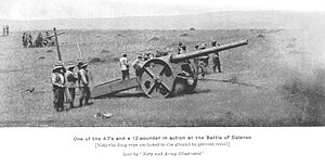 "Quick-firing gun - Quick firing 4.7 inch gun on ""Percy Scott"" carriage at the Battle of Colenso."