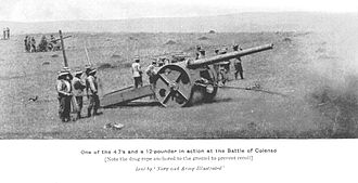 "QF 4.7-inch Gun Mk I–IV - Gun on ""Percy Scott"" carriage at the Battle of Colenso."