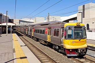 Electric multiple unit (Queensland Rail) - EMU 73 arriving at South Brisbane with a Ferny Grove-bound service