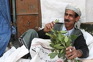 Water supply and sanitation in Yemen - Man chewing Qat