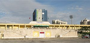 Qemal Stafa Stadium - View on the stadium from Italy square