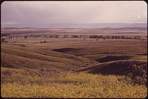 Crow Indian Reservation - Ranch lands and prairie near Little Bighorn Battlefield National Monument, part of the Crow Indian Reservation, 1973