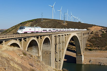 A RENFE Class 730 train on the Viaducto Martin Gil near Zamora RENFE Class 730 Viaducto Martin Gil.jpg