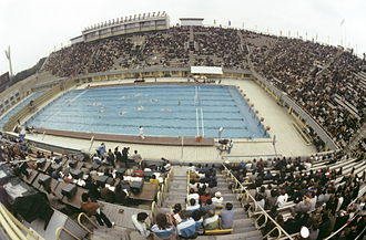Water polo at the 1980 Summer Olympics - Outdoor Swimming Pool of the Central Lenin Stadium during the event. RIAN photo