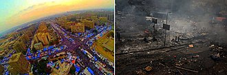 August 2013 Rabaa massacre - Rabaa Square before and after the sit-in dispersal.
