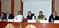 Radha Mohan Singh briefing the media on the Initiatives, Achievements and Future roadmap of Agriculture Ministry, in New Delhi. The Minister of State for Agriculture, Dr. Sanjeev Kumar Balyan.jpg