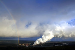 Rainbow and sulfur dioxide emissions from the Halema`uma`u vent.jpg