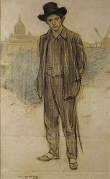 Ramon Casas, Ritratto di Pablo Picasso (1900), olio su tela, 69 × 44.5 cm, Museu Nacional d'Art de Catalunya