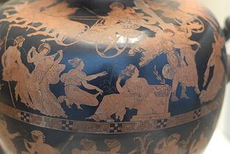 Meidias Painter - Rape of the daughters of Leucippus by the Dioscuri, hydria by the Meidias Painter, British Museum.