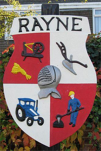 Rayne, Essex - Image: Rayne Village Shield 800 1194