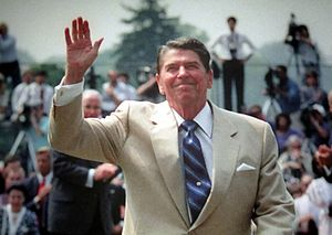English: This Ronald Reagan photo is in the Re...