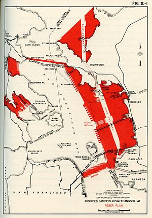 Reber Plan -  Proposed barriers in the San Francisco Bay
