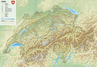 Reliefkarte der Schweiz