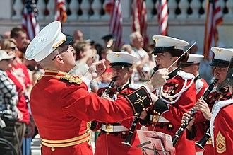 Bandmaster - A bandmaster of the United States Marine Band on Memorial Day.