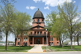 Many county seats in the United States feature a historic courthouse, such as this one in Renville County, Minnesota, pictured in May 2015. Renville County Courthouse MN.jpg