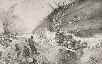 Action of 22 September 1914 - Sketch of Cressy sinking (Henry Reuterdahl)
