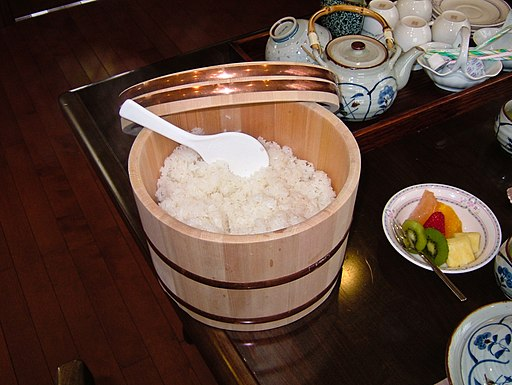 Rice in the wooden tub