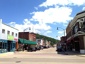 Richland Center, Wisconsin - Richland Center's historic downtown, viewed from Court and Main Street.