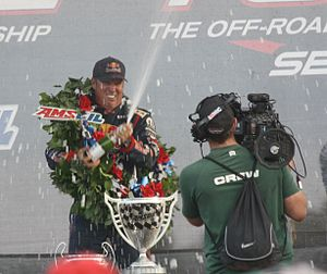Ricky Johnson - Johnson celebrates winning the 2012 AMSOIL Cup