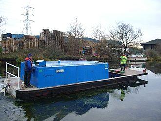 Lee Navigation -  Workboat Enfield on the river at Tottenham