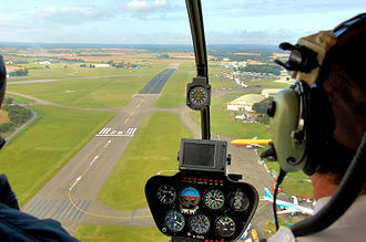 Robinson R44 - View from an R44 Astro at Cotswold Airport, England, showing part of the instrument panel (2009)