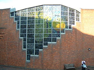 Robinson College, Cambridge - The stained-glass windows on Robinson College Chapel, designed by John Piper.