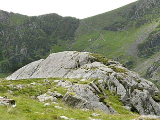 Cadair Idris - A roche moutonnée near Llyn Cau. The direction of the glacial movement was from left to right.