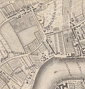 Little Chelsea - The hamlet of Little Chelsea (top left), along the Fulham Road, in John Rocque's 1746 map of London.