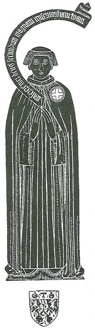 """Roger Lupton - Rubbing of monumental brass in Eton College Chapel, of Roger Lupton (d.1540). His hair displays the tonsure of a cleric. He wears the mantle of a Canon of Windsor (based in St George's Chapel, Windsor Castle), displaying on his left shoulder a Cross of St George within a circle. A speech scroll emanating from his chest is inscribed in the Latin with the opening words of  Psalm 51: Miserere mei Deus secundum magnam misericordiam tuam (""""Have mercy upon me, O God, according to thy loving kindness""""). Below is an heraldic escutcheon displaying his arms"""